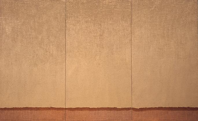 8_하종현,conjunction2, 대마천에 유채로 배체기법, 220x360cm, 1983